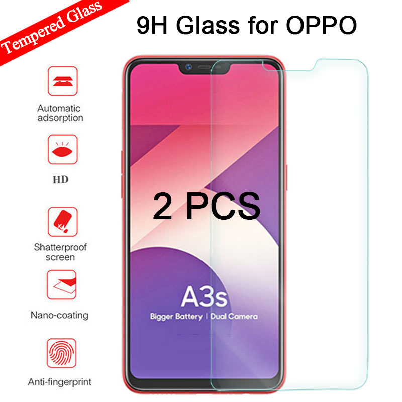 2PCS Tempered Glass For Oppo A5 A7 A7X A9 A9X Screen Protector For  Protective Glass For Oppo A37 A57 A59 A79 A83 A85 Hard