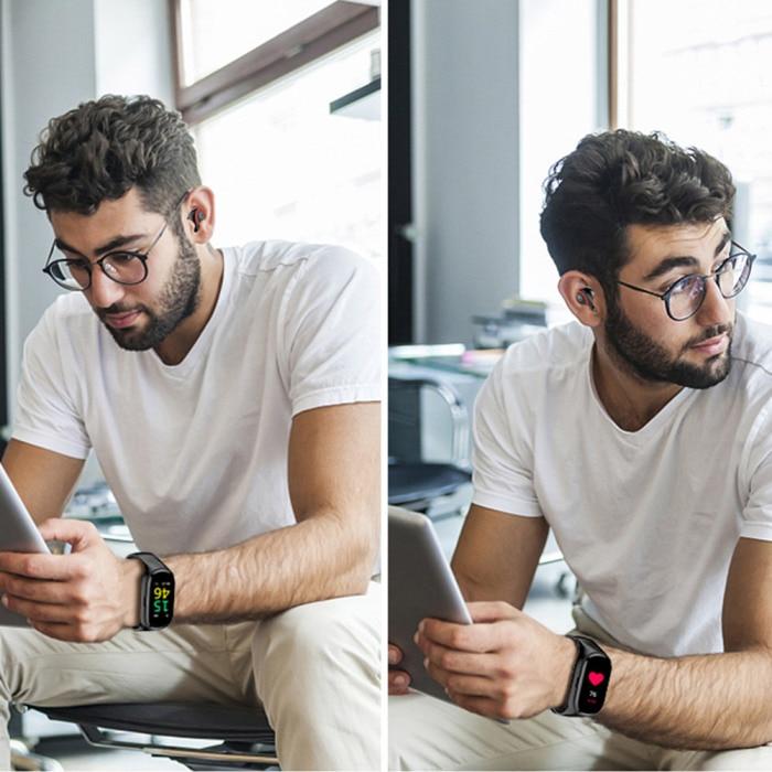 Relógio inteligente tela colorida pulseira duplo bluetooth