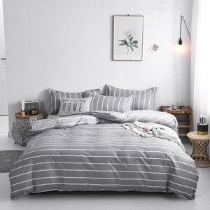Image 4 - Solstice Juego de cama de celosía a rayas blancas y negras, funda de edredón de lino para niños y niñas, sábana para cama, funda de almohada