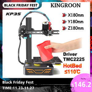 KINGROON KP3S DIY 3D Printer Kit impressora 3d Upgraded Direct Extruder TMC2225 Driver Double Metal Guide Rail 180*180*180mm