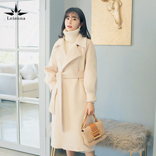 Elegant Turn-down Collar Loose 2020 Winter Long Outerwear Coats Woolen Overcoat Woll Office Woman Fe