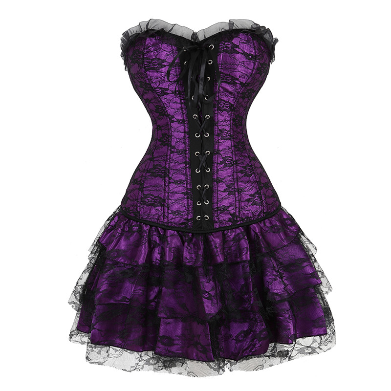 Women's Gothic Vintage Lace Trim   Corset   Dress Sexy Floral   Bustiers   and   Corsets   with Mini Tutu Skirt Witch Cosplay Costume Purple