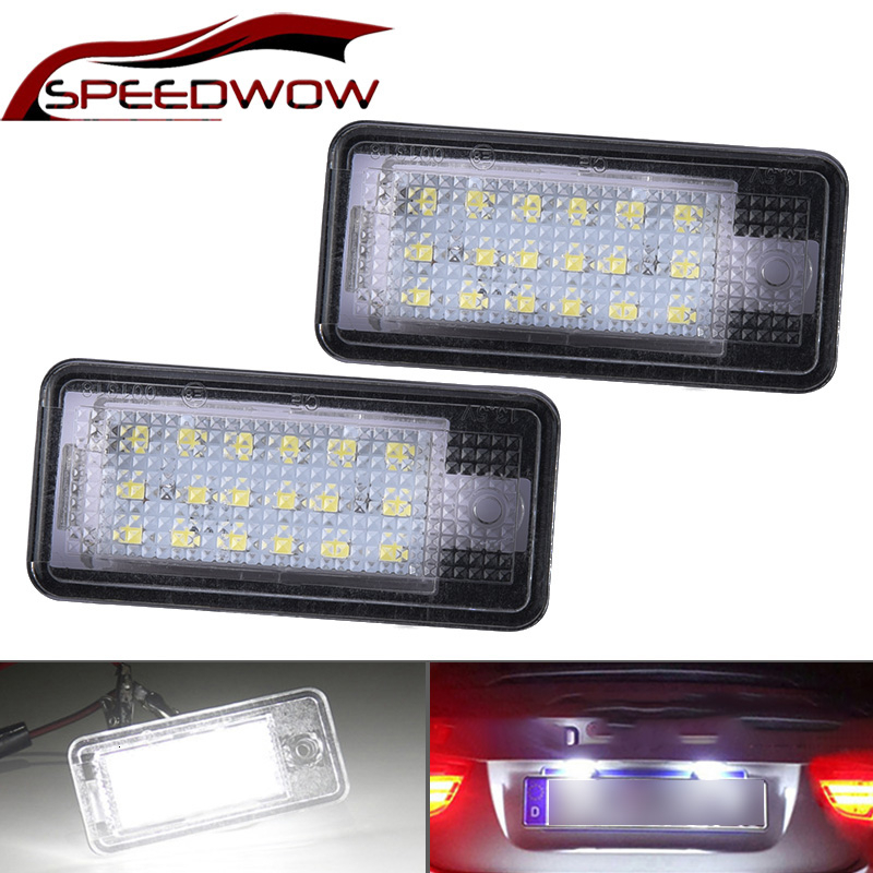 SPEEDWOW 2x 18 LED License Number Plate  Car License Plate Lights Car Styling For Audi A3 S3 A4 S4 B6 A6 S6 A8 S8 Q7