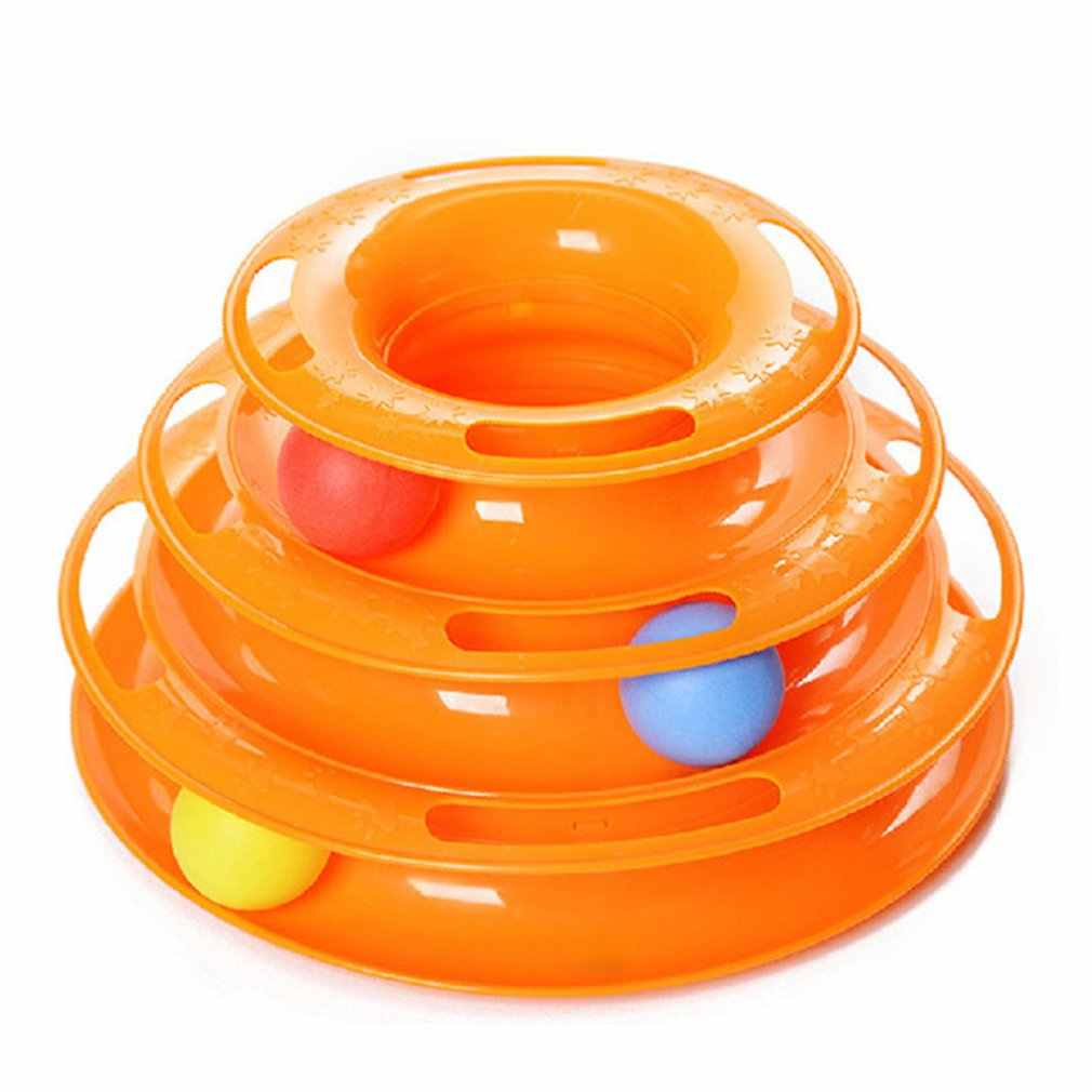 Tower Of Tracks Ball And Track Interactive Toy Cats Fun Cat Game Intelligence Triple Play Disc Cat For Toy Balls