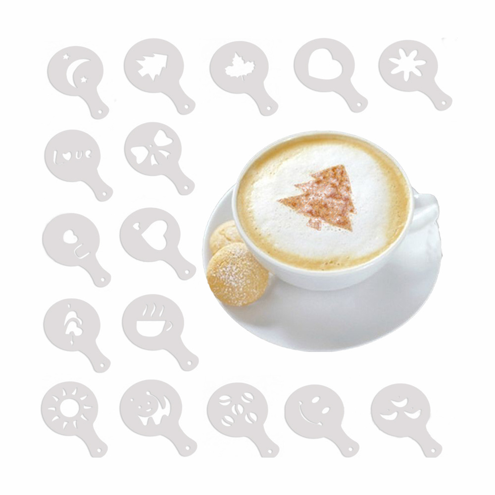 16 Pieces Of Coffee Cake Printing Mold Cake Decoration Fancy Coffee Plastic Model Coffee Decoration Tool Cappuccino Latte Mold