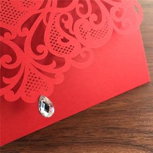 Image 5 - 25 stücke Luxuriöse Hochzeit Dekoration Lieferungen China Weiß Rot Laser Cut Hochzeits einladungen Elegante Hochzeit Einladung Karten