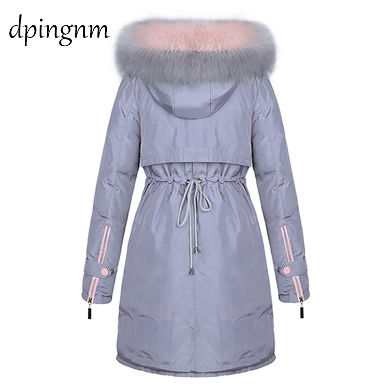 Winter Jacket Women   Parkas   for Coat Female 2019 Faux raccoon fur plus size 3XL outerwear long jacket slim jaqueta feminina