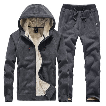 Winter New Mens Hoodies Tracksuit Set Thicken Fleece Sweatpant Fashion Casual Jackets Sets 2 Piece Men
