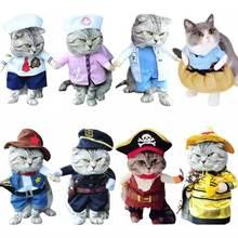 Komik kedi köpek giysileri evcil hayvan giyim Cosplay rol oynayan takım elbise korsan takım elbise cadılar bayramı kıyafetleri giyinme kedi parti kostüm takım elbise