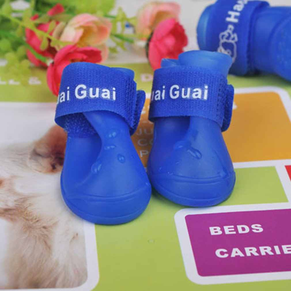Su geçirmez dayanıklı Mini Pet küçük köpek oyuncak yağmur çizmeleri ayakkabı küçük Pet Rainboots kaymaz Paws patik