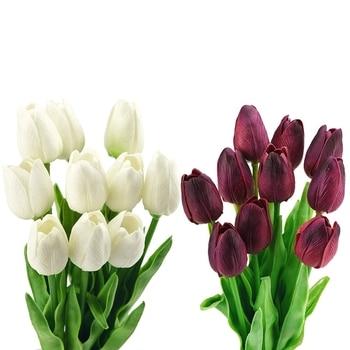 20 tallos de flores artificiales tulipanes Bouquet, perfecto para boda, boda, fiesta, hogar, vacaciones, jardín, cumpleaños, decoración de oficina