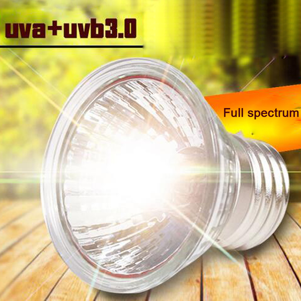 25/50/75W UVA+UVB 3.0 Reptile Lamp Turtle Tortoise Pet Basking UV Bulbs Heating Lamp Amphibians Temperature Control