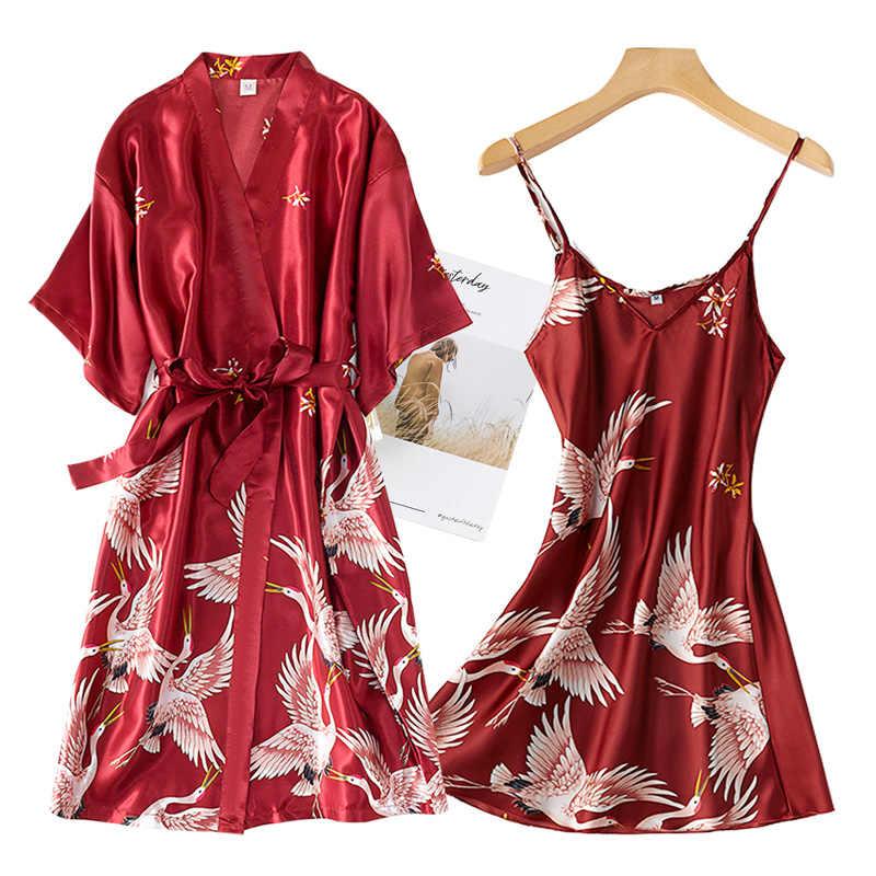 נשים זהורית 2PCS חלוק סט הכלה שושבינה חתונת שמלת חלוק תחרה סקסי קימונו חלוק לילה שמלה מזדמן כתונת לילה הלבשת
