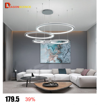 Dragonscence Round circle Aluminum Modern Led ceiling light lamp for living room bedroom dining table office meeting room
