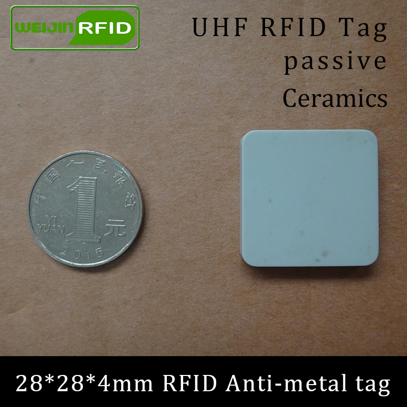 UHF RFID Metal Tag 915m 868m Alien Higgs3 EPCC1G2 6C Casting Fixture Tool 28*28*4mm Square Ceramics Smart Card Passive RFID Tags