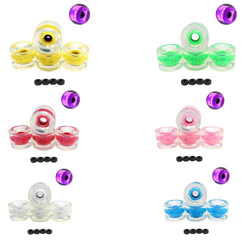4PCS 70mm LED Longboard Wheels With Magnet Ring Transparent LED Skateboard Wheels Skate Parts PU Wheels Free Shipping