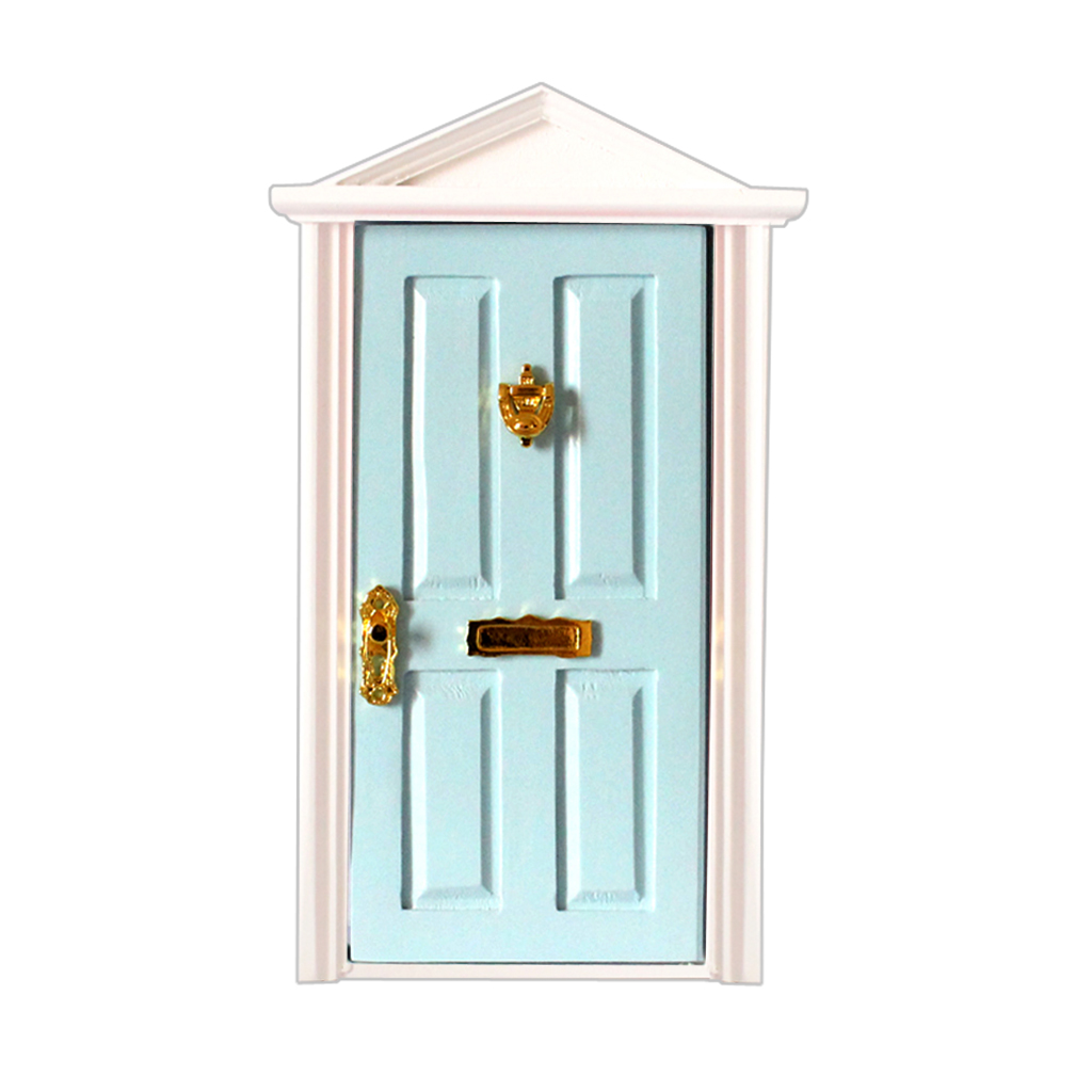 Dollhouse Miniature Fairy External Wooden Door w// Hardware Blue 1//12 Scale