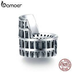 bamoer Landmark Rome Colosseum Charm 925 Sterling Silver Bead for Jewelry Making DIY Charms Bracelet Accessories SCC1543 SCC1543