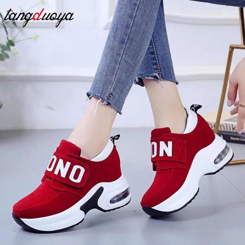 platform wedge sneakers ladies shoes sneaker casual shoes trainers women female shoes black red sneakers women tenis feminino