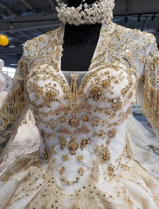 Image 5 - Ivory Long Sleeves Wedding Dresses with Gold Lace for Women 2020 Princess Puffy V Neck Corset Real Photos Vintage Bridal Gowns