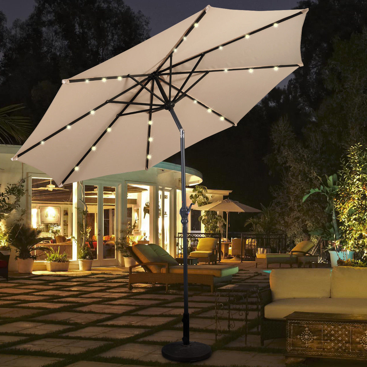 Costway 10ft Patio Solar Umbrella LED Patio Market Steel Tilt W/ Crank Outdoor Beige