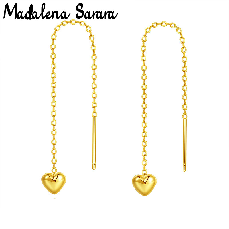 MADALENA SARARA Pure 18k Gold Earrings Simple Heart Dangle Women Earrings Pin