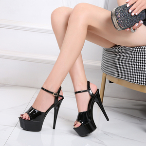 Image 4 - Sandals Shoes Woman Thin Heels Platform 2020 Beach Sexy Sandals Wedding Shoes Steel Tube Dancing Girl Stripper Shoes Open Toe