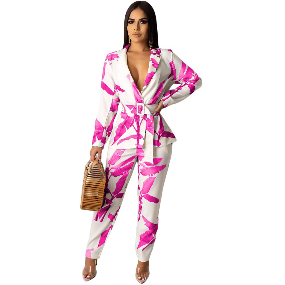 Autumn Women's 2019 Leaves Print Two Piece Slim Elegant Office Casual Long Sleeve Turn-Down Collar Blazers With Belt+Pants Suit