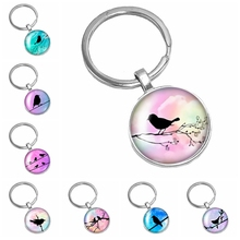 2019 New Hot Bird Silhouette Color Background Pattern Series Glass Cabochon Keychain Popular Jewelry Gift