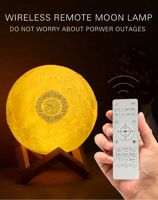 Bluetooth Speakers Wireless Muslim Night Light Quran speakers 3D Moon With remote control quran speaekr Light Koran Touch Lamp 4