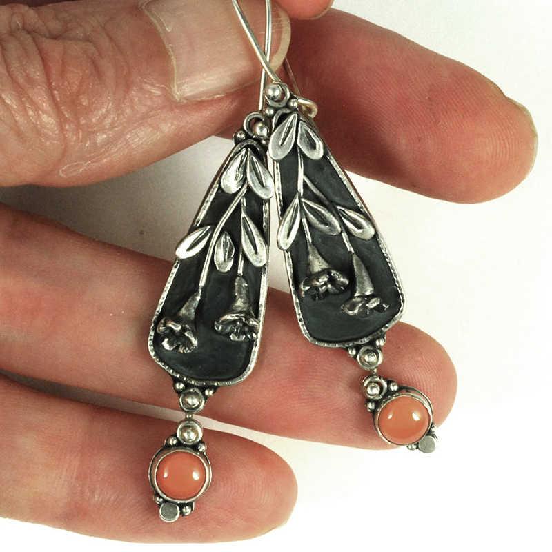 Purple Flower Beads Boho Ethnic Vintage Earrings Jewelry