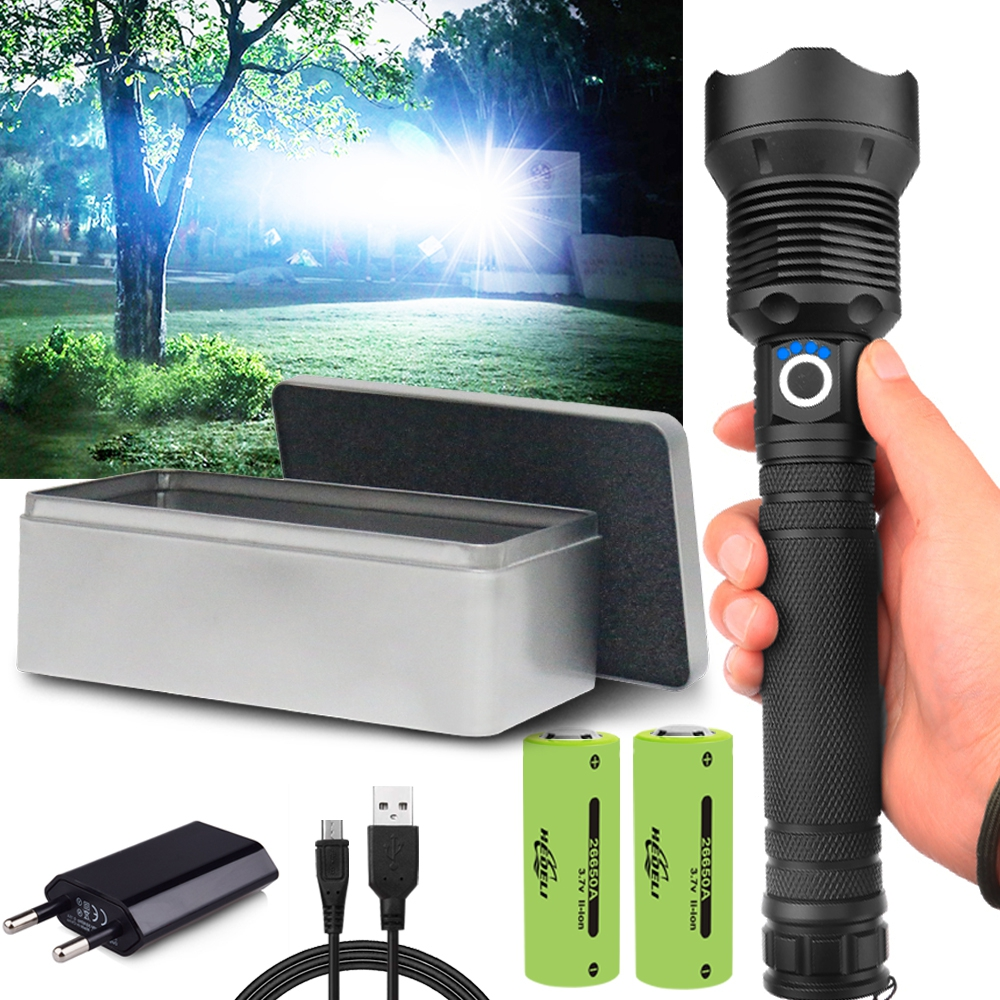250000 Lm XHP70.2 Most Powerful Led Flashlight Usb Zoom Tactical Torch Xhp50 Xhp70 18650 26650 Rechargeable Battery Hand Light