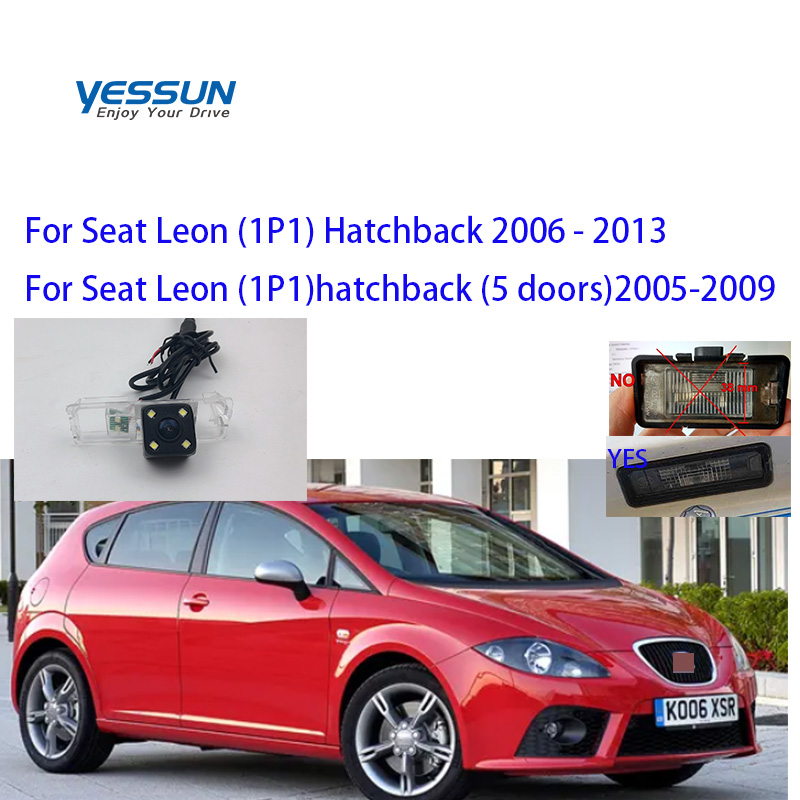 Yessun CCD Rear View Camera For Seat Leon (1P1) Hatchback 2006 - 2013  Parking Reverse Backup 4 LED CAMERA Car License Plate