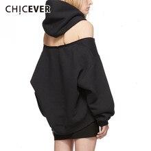 CHICEVER siyah kadın tişörtü kapşonlu uzun kollu fermuar Backless kapalı omuz kazak 2020 bahar moda giyim yeni
