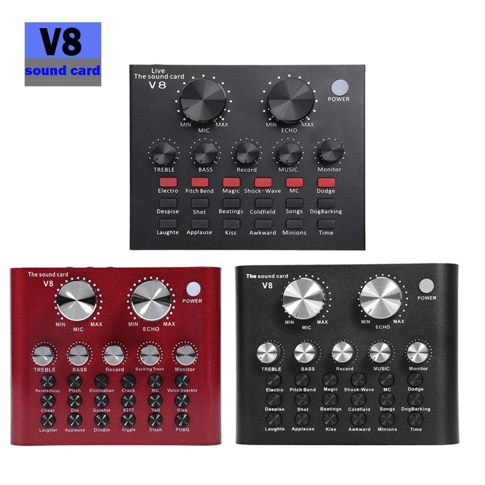 V8 Bluetooth Audio USB Headset Mikrofon Webcast Live Soundkarte 112 arten von elektrischen sound Broadcast für Telefon Computer PC