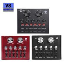 V8 bluetoothオーディオのusbヘッドセットマイクwebcastライブサウンドカード 112 種類の電気音響放送電話コンピュータpc