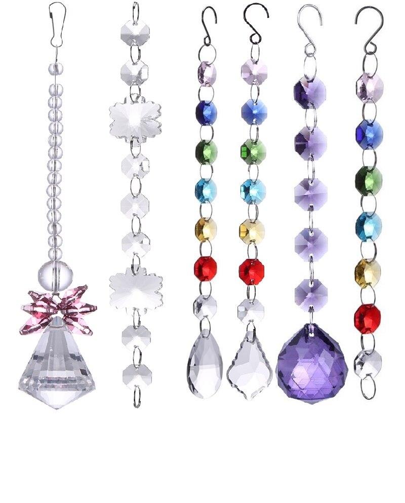 Colorful DIY Crystal Sun Catchers Chandelier Crystals Ball Prism Pendant Rainbow Maker Hanging Chakra Cascade Suncatcher