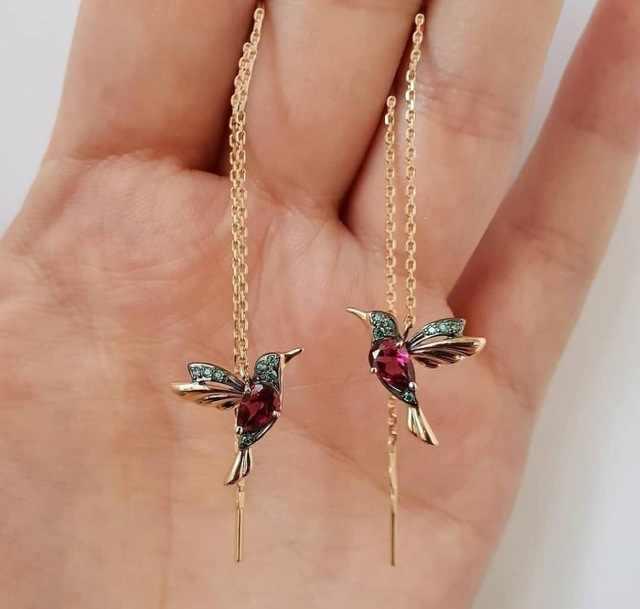 Asymmetric Earrings Creativity Bird Leaf New Pattern Jewelry Elegant Ear Studs