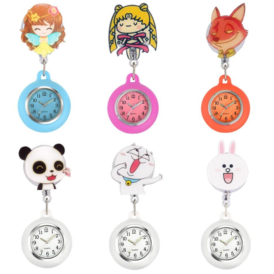 Cartoon Animal Design Nurse Pocket Watch Clip Buckle Extension Rope Pocket Watch Gifts for Nurse Doctor