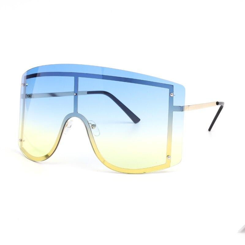 Oversized Women Blue Yellow Gradient Sunglasses Fashion Rimless Metal Female Shades Luxury Brand Designer Personality Eyewear 4