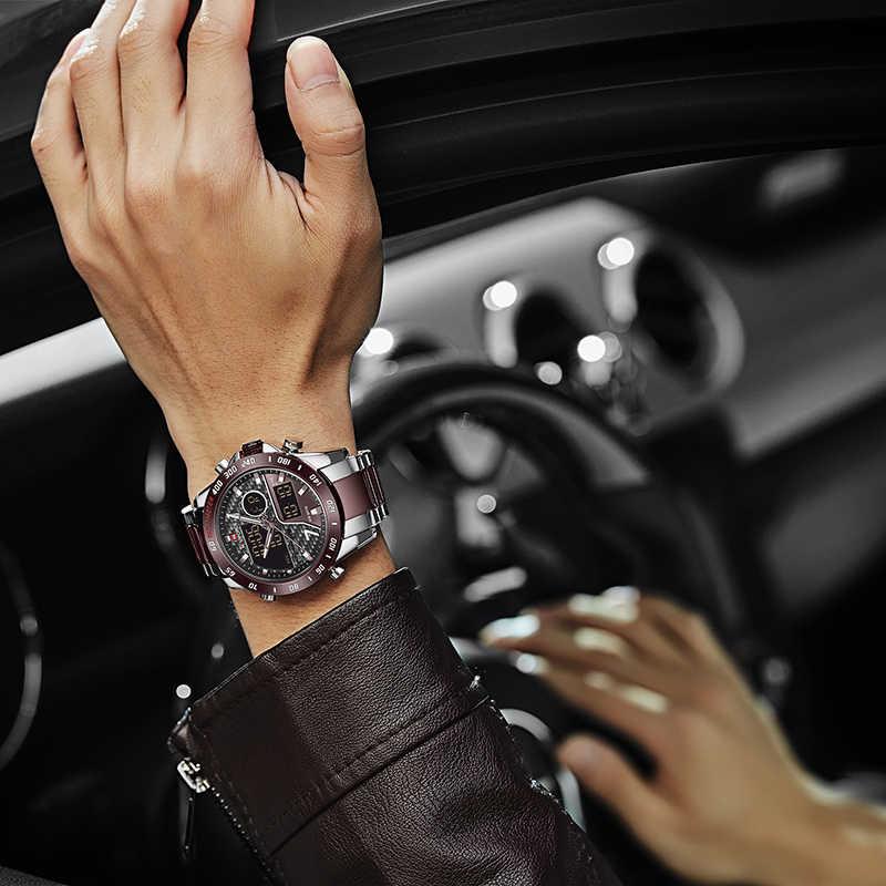 Naviforce novos homens relógio de pulso topo de luxo marca masculina à prova dwaterproof água esporte relógios quartzo analógico relógio de pulso digital relogio masculino