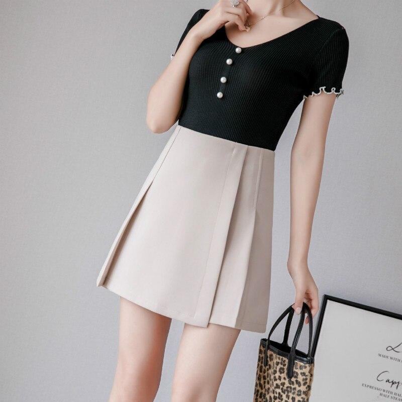 New Pleated Women Mini Skirt Casual High Waist A-line Female Short Skirt Korean Preppy Style Cute Pink Skirts 2