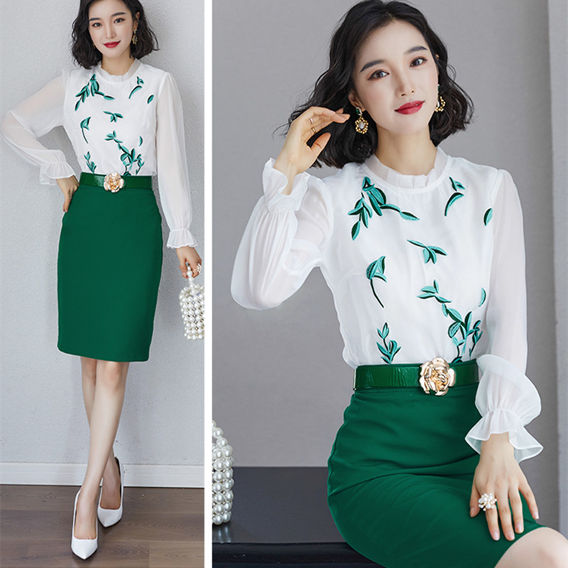 With Belt ! Women Vintage Leaf Embroidery Long Sleeve Blouses Tops And Green A-Line Skirts Clothing Set Spring 2PCS Suit NS33