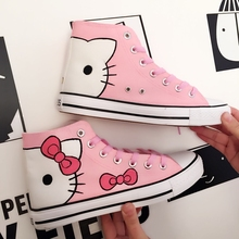 New hand painting kitty white sneakers women canvas shoes Ko