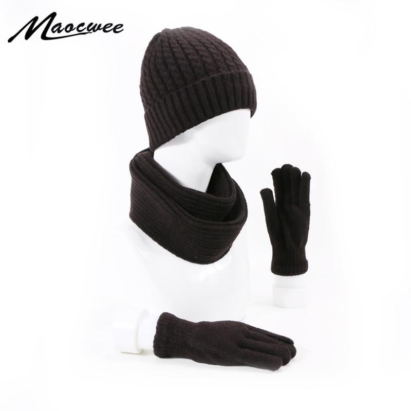 Women Man Winter Beanie Hat Scarf Gloves 3 Pieces Set Knitted Thickened Outdoor Warm Ski Caps Skullies Beanies Soft Scarf Gloves