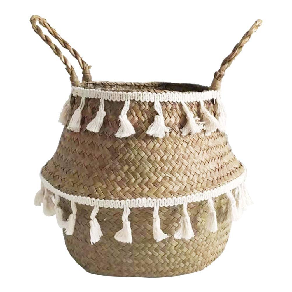 Blanc gland macramé panier de rangement ménage pliable Seagrass tissé support jardin fleur Vase support suspendu