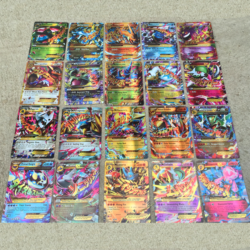 100PCS pokemon card MEGA Flash Card EX игровая коллекция карт подарки для детей