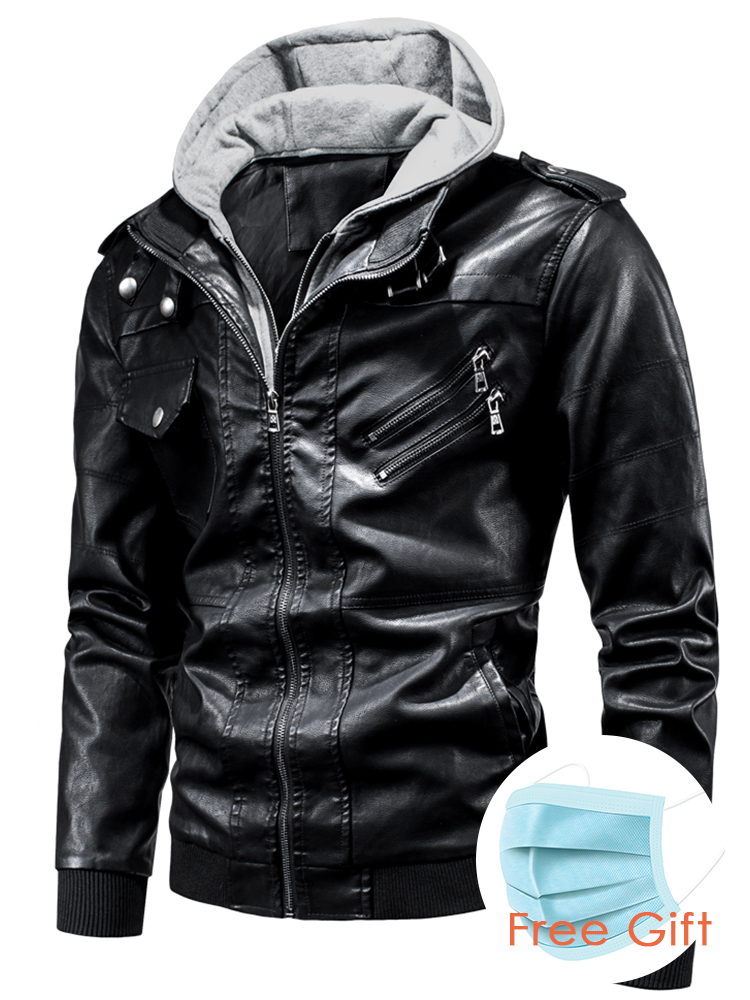 Ucrazy Coat Men Jackets Hat Hooded Motor Fashion Casual Spring PU Outwear Punk-Style