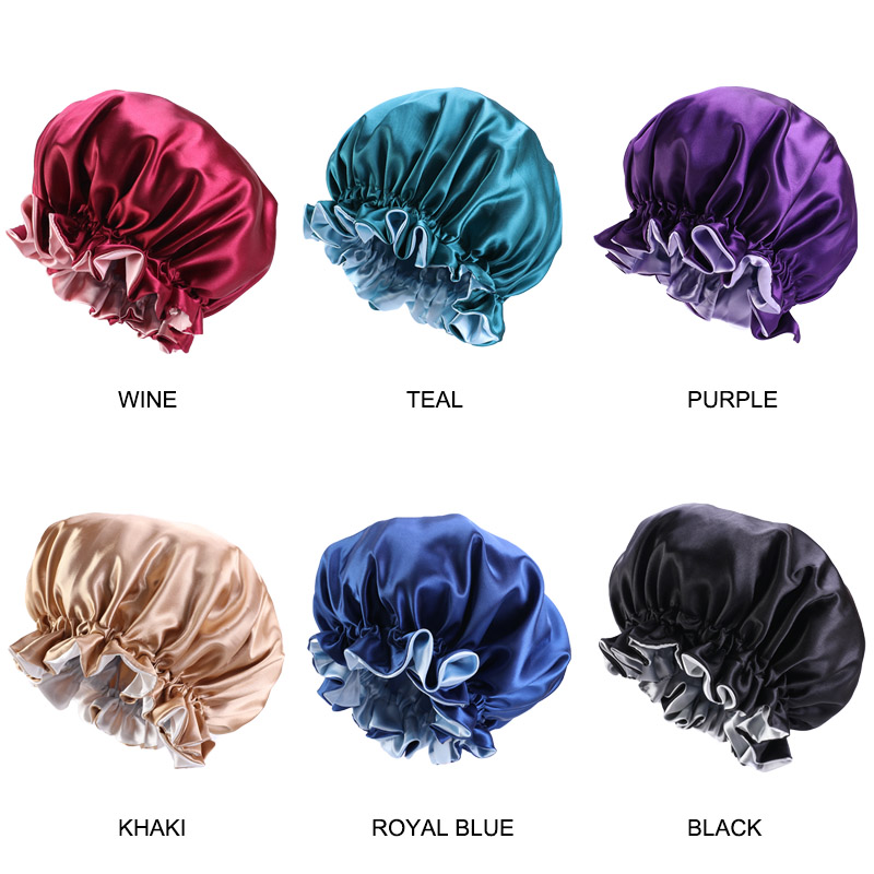 10PCS/lot large Reversible Satin Bonnet Hair Caps Double Layer Sleep Night Cap Head Cover Hat For Curly Springy Hair Accessories