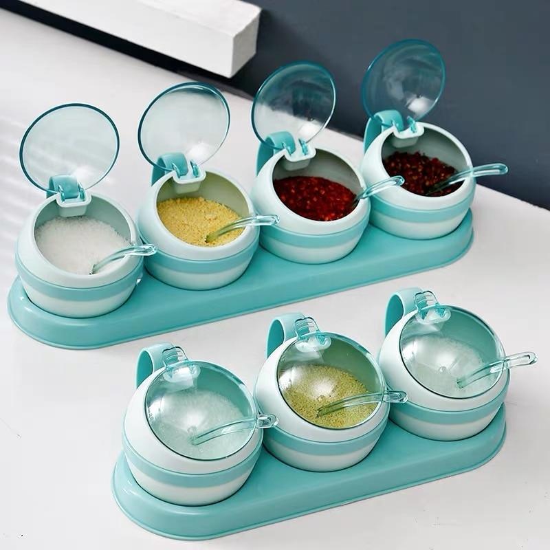 3/4pcs set Nordic Seasoning Box Kitchen Salt Sugar Storage Boxes Holder Plastic Spice Jar Condiment Cruet Home Kitchen Tools